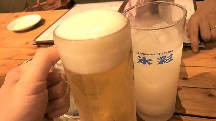 海岸通り味一の生ビールとカルピスソーダ