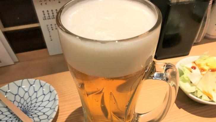 焼鳥のヒナタの生ビール